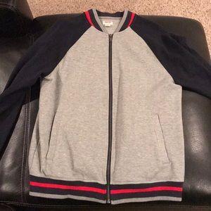 Men's MOSSIMO Gray track jacket sweatshirt M EUC